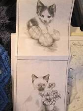 Tri-Chem Kittens Liquid Embroidery Pictures #2940- Set Of 4 Of 6x8 Inches