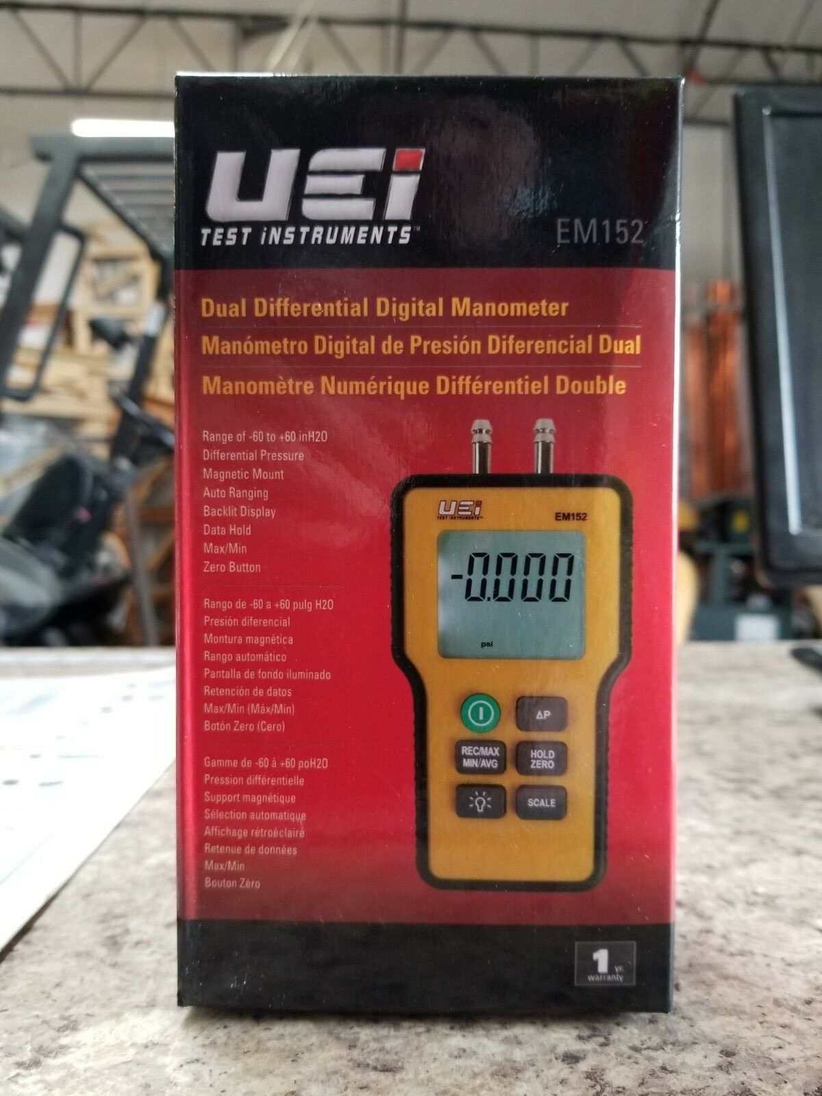 Dual Differential Input Manometer,9V UEI TEST INSTRUMENTS EM152
