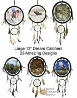 Dream Catcher, Large With Wood Frame, Leather, Beads & Feathers, 13 Round