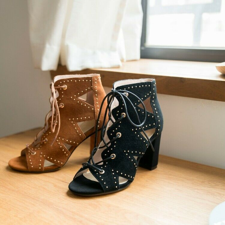 Womens Suede Leather Studs Cutout Lace Up Block Heel Sandals Gladiator shoes RNW