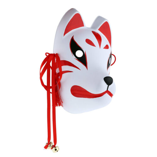 PVC Fox Full Face Mask Hand Painted Japanese Style Cosplay with Tassels/&Bells