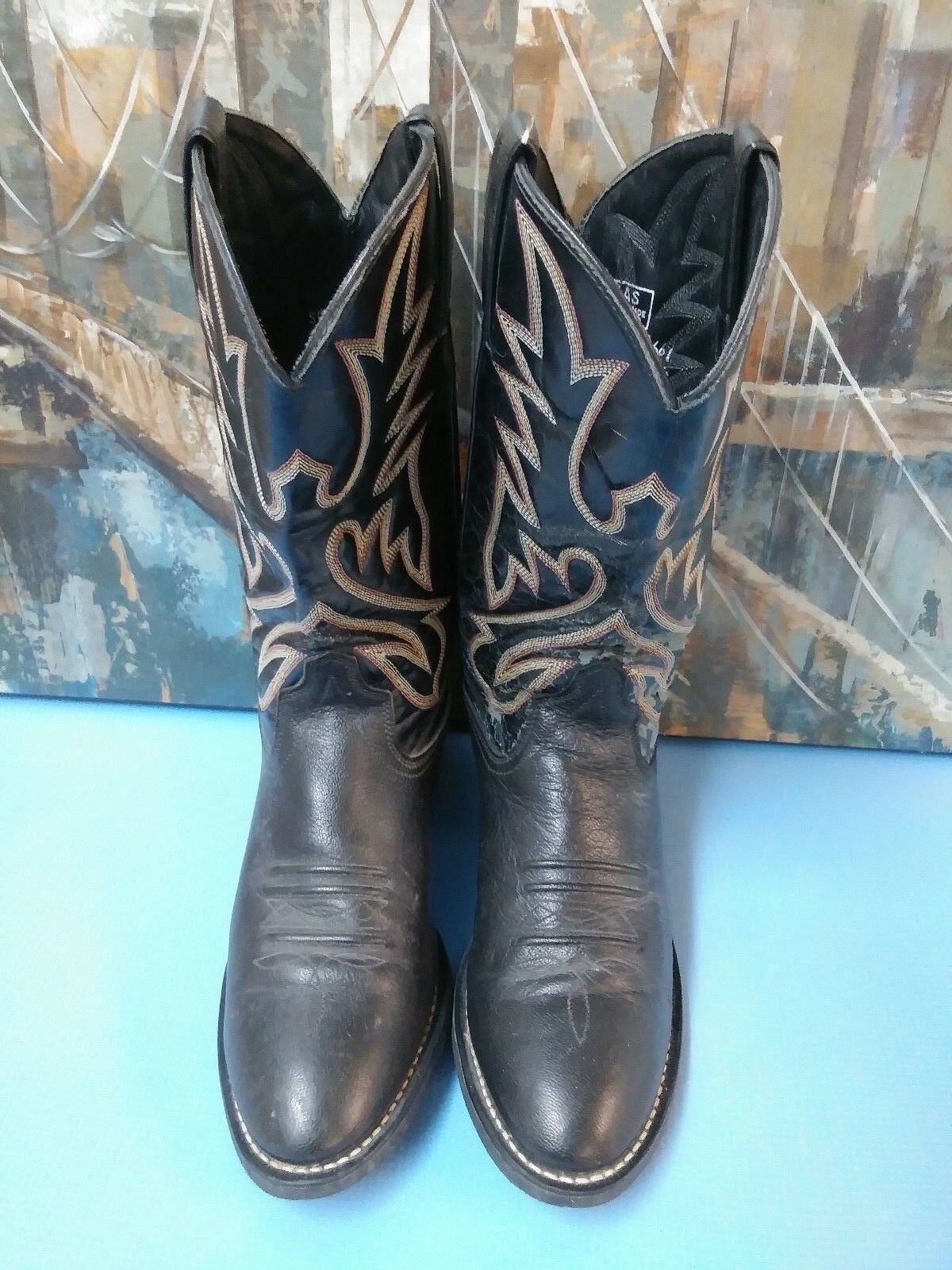 Texas Leather Boots Cowboy Boots Leather Size 9 D Style 5180 Texas USA  Black 0e1089