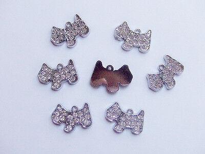 2pz charms ciondoli Cagnolino Cane con strass colore argento scuro 18x14mm
