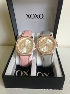 NEW-XOXO-ROSE-GOLD-DIAL-BLUSH-PINK-amp-GRAY-LEATHER-STRAP-WATCH-DUO-SET-XO9233