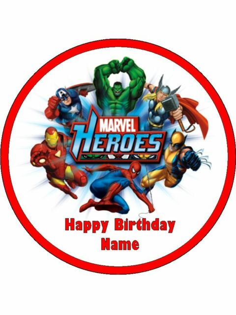AVENGERS 19cm Edible Cake Topper Icing Image Birthday Party Decoration #3