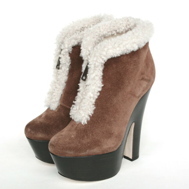 DSQUARED2 shearling fur lined booties platform high heel suede zipper boots 37.5