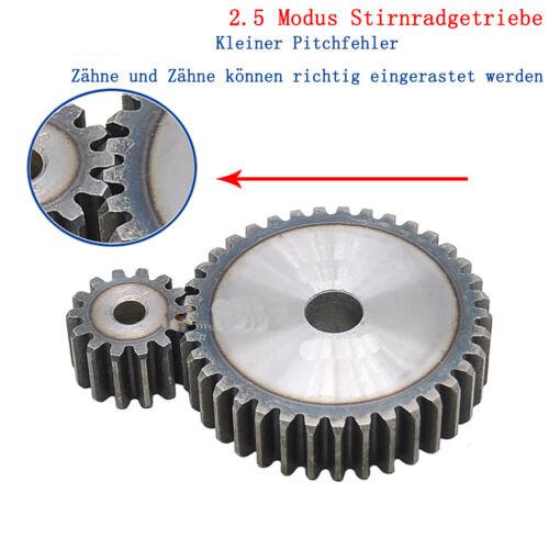 2.5 Modul 16 Zähne Zahnrad Stirnrad Stahl C45 Motorgetriebe Stirnradgetriebe 16T