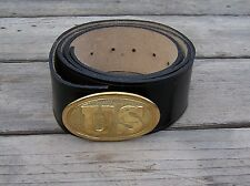civil war leather belt with brass oval US buckle 44