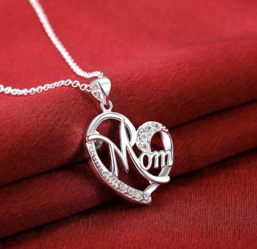 Women/'s Fashion Jewelry Silver Plated Heart mom Necklace and Pendant 59-1