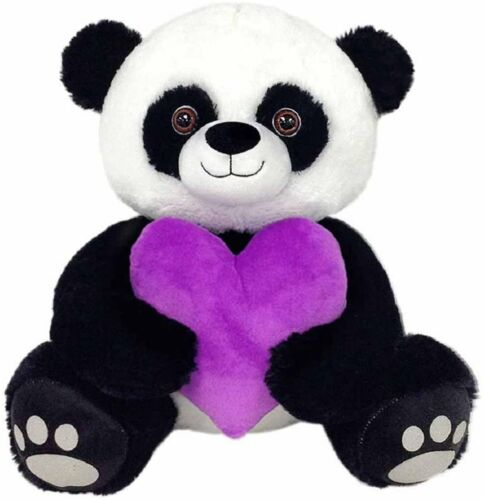 Peek A Boo Toys Prince The Panda with Purple Heart Stuffed Animal Plush Toy