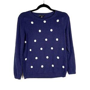 Banana-Republic-Women-s-Lightweight-Pullover-Knit-Polka-Dot-Sweater-Blue-Size-PM