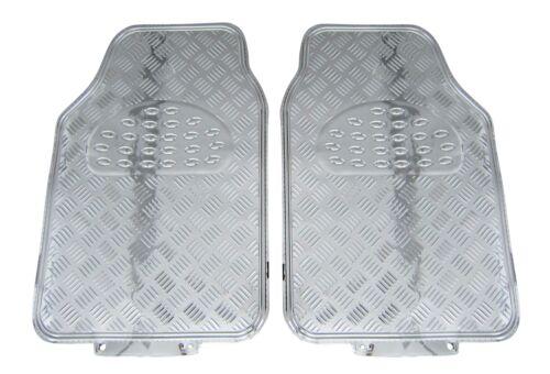 Für VORN Chrom Riffelblech Look 2x Gummi Fußmatten Gummifußmatten Autoteppich