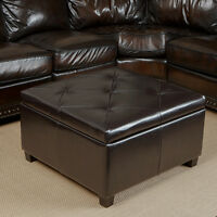 Elegant Espresso Leather Storage Ottoman Coffee Table w/ Tufted Top
