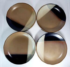 "SANGO #5022 GOLD DUST BLACK 8"" SALAD PLATES RIPPLE EDGE SET OF 4 STONEWARE,"