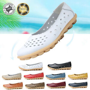 Genuine-Leather-Womens-Moccasins-Pumps-Ladies-Flats-Shoes-Loafers-Comfy-UK-9-5