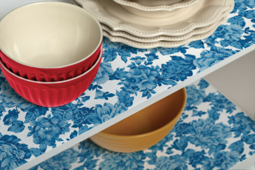 """The Pioneer Woman Heritage Floral Blue Non-Adhesive Drawer Shelf Liner 20/"""" x 6/'"""