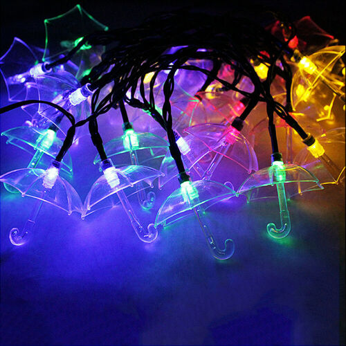 Solar Powered 20LED String Fairy Light Outdoor Umbrella Wedding Party Xmas Lamp