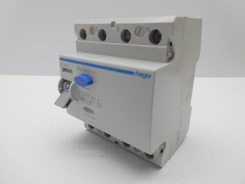 HAGER RCD RESIDUAL CURRENT BREAKER TRIP FOUR POLE THREE PHASE 30 300MA 100