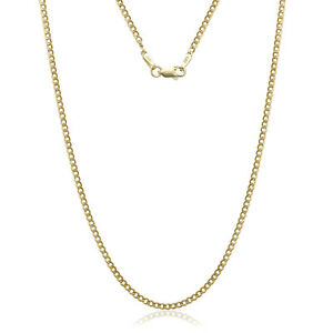 14K-SOLID-YELLOW-GOLD-CUBAN-LINK-2-40-MM-WOMEN-MEN-039-S-NECKLACE-CHAIN-16-034-30-034