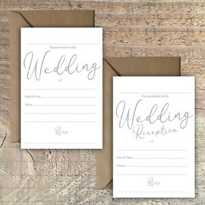 WEDDING-INVITATIONS-BLANK-GREY-amp-WHITE-CLASSIC-STYLISH-SIMPLE-PACKS-OF-10