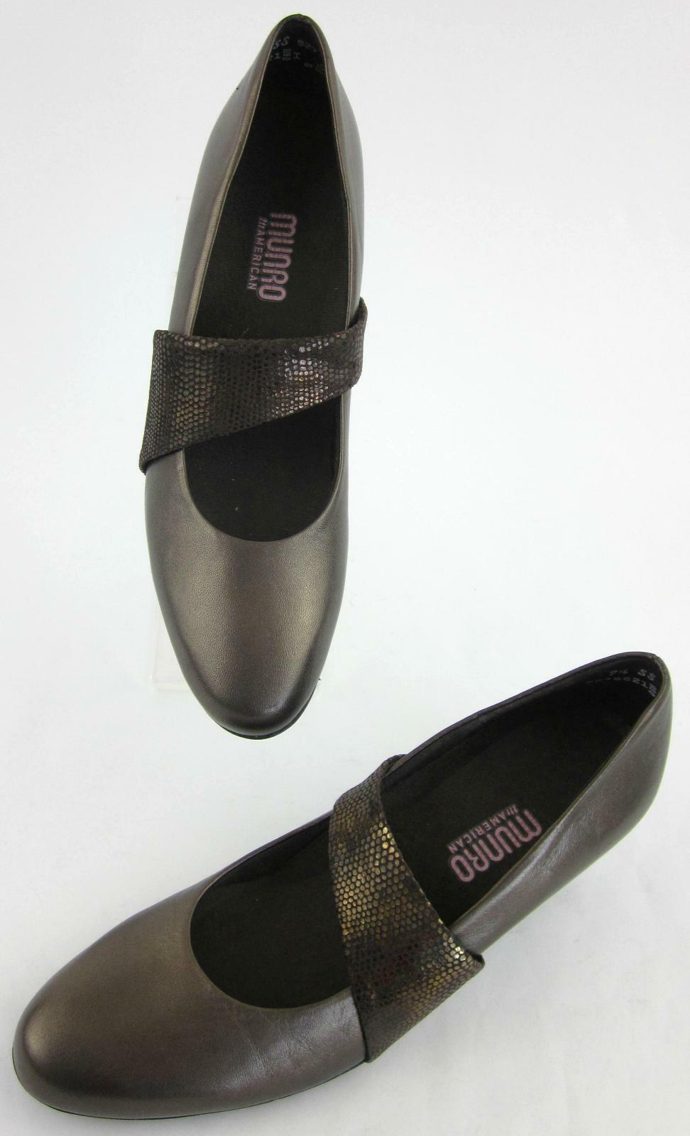 NEW  Munro American Round Pumps Toe Mary Jane Niedrig Pumps Round Bronze Leder 7.5SS 5771db