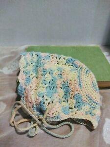 24 mths Spanish style baby blue vintage Handmade baby girls bonnet newborn