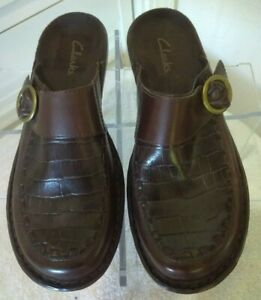 Clarks-Women-039-s-Size-7M-Mules-Clogs-Brown-Leather-Slip-On-Slides-Comfort-Shoes
