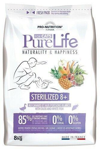 8kg PRO-NUTRITION FLATAZOR PURE LIFE KATZE STERILIZED 8+ DUCK FISH Katzenfutter