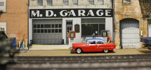 #347 O scale background building flat   MD GARAGE   *FREE SHIPPING*