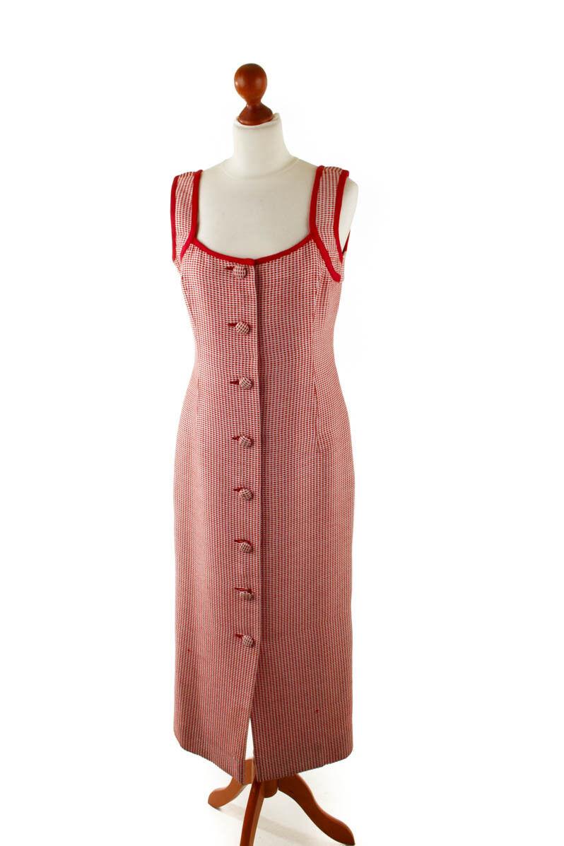Vintage orig CAROLINA HERRERA Kleid Etuikleid red elegant Knopfkleid 38 40