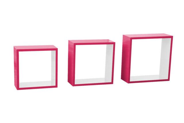 *B421566-123 / 3 tlg Wandregal Bücherregal Regal Hängeregal Pink Weiß