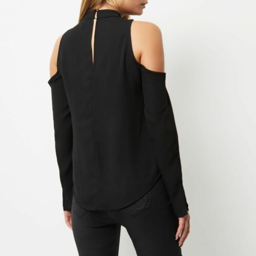 NEW RIVER ISLAND BLACK COLD SHOULDER BLACK TOP SIZE 6 8 10 12 14 16 18