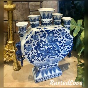 Chinese Oriental Blue and White Porcelain Dragon Bud Vase Tulipiere 5 Finger
