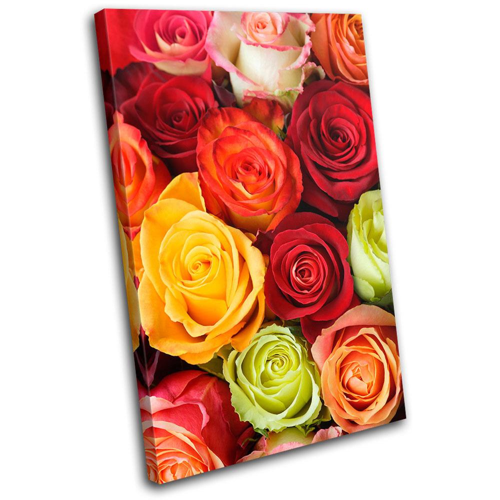 rosas Love Flowers Floral Floral Floral SINGLE TELA parete arte foto stampa e383a6