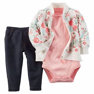 Carter-039-s-Baby-Girl-Rose-floral-French-Terry-Cardigan-bodysuit-jeggings-3pc-Set