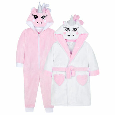 MiniKidz /& 4Kidz Girls Purple Unicorn Soft Snuggle Dressing Gown