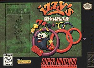IZZY-039-S-QUEST-FOR-THE-OLYMPIC-RINGS-SNES-SUPER-NINTENDO-GAME-COSMETIC-WEAR