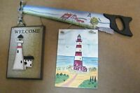 country primitive lighthouse rustic wood magnetic saw nautical decor  sign 3 pc