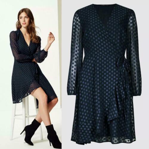 M/&S Per Una £45 Navy Polkadot Evening Office Frill Dobby Spotted Mini Dress