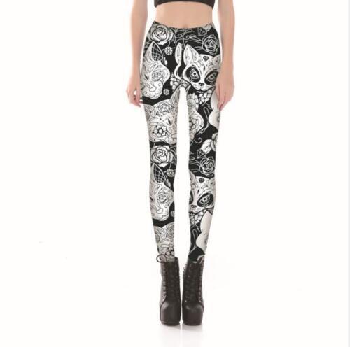 Women legging White Floral Fox printed Legging Slim legging S-4XL Legging