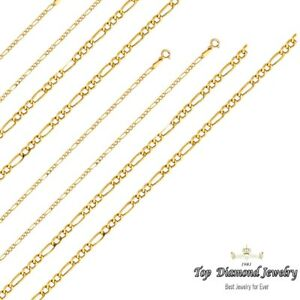 209fa1c0ffbb Image is loading 14k-Yellow-Gold-2mm-Italy-Figaro-Link-Chain-