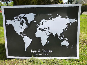 Personalised chalkboard style world map wedding party guest book image is loading personalised chalkboard style world map wedding party guest gumiabroncs Image collections