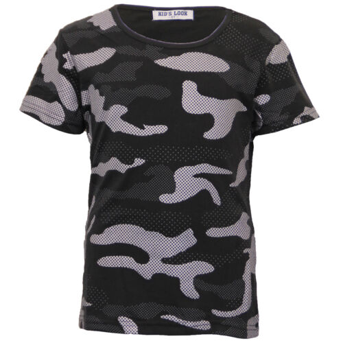 Niños Chicos camiseta Camuflaje Militar Ejército Top Manga Corta Cuello Redondo Verano