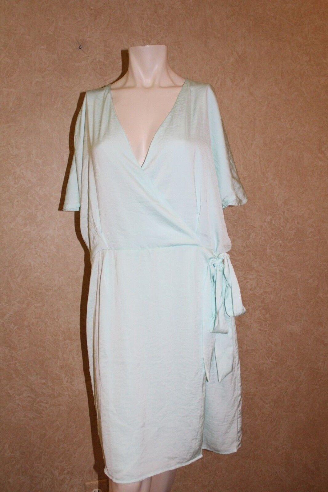 Bar III Faux Wrap Dress Aqua Whisper XL  _______________________________ R22A3