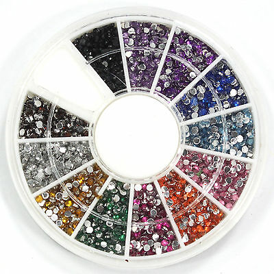 2400 Pcs 1.5mm 12 Colors Round Rhinestones for Nail Art Tips Decoration Wheel