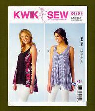 Princess Seam Sleeveless Tops Sewing Pattern~Flared Hem XS-XL Kwik Sew 4101