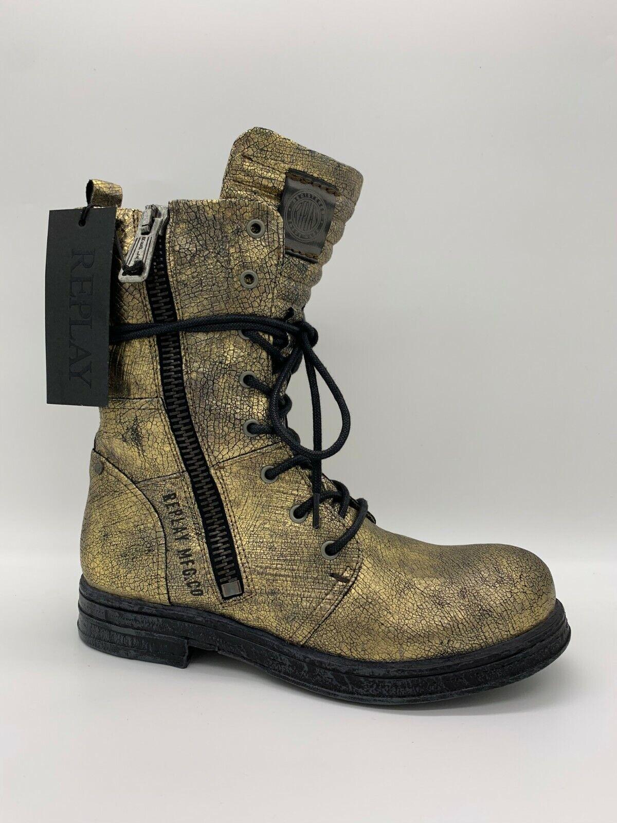 Replay Damenschuhe Schuhe Stiefel Stiefelette Stiefel Leder Evy Platin