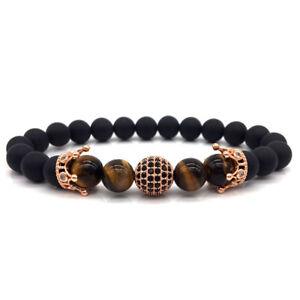 Luxury-Men-Micro-Pave-CZ-Ball-Double-Crown-Bracelet-Tiger-Eye-Stone-Beads-Bangle
