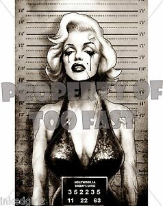 New too fast tattooed marilyn pinup mugshot poster monroe for Marilyn monroe with tattoos poster