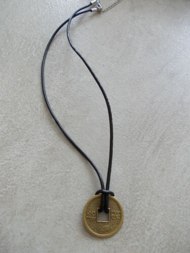 TRIBAL SURFER PENDANT FENG SHUI 1 X CHINESE WEALTH LUCKY COIN BRONZE NECKLACE
